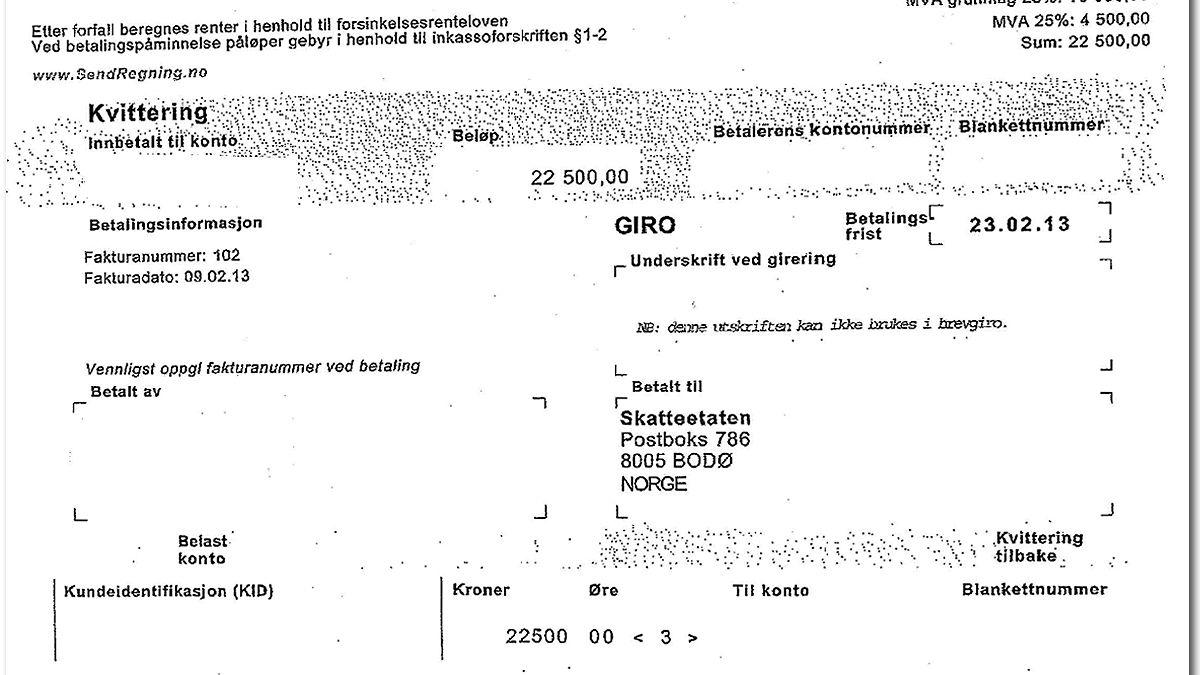 Slik ser én av de falske restskattfakturaene ut. Skatteetatene har så langt politianmeldt to tilfeller av svindelforsøk.