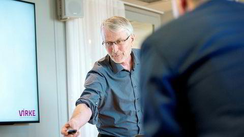 Sjeføkonom Lars Haartveit i Virke la frem nye analyser av handels- og tjenestenæringens sysselsettingsvekst og verdiskaping onsdag.