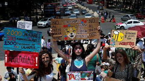 Ungdom over hele verden har demonstrert for klimaet i år. Mange frykter konsekvensene av klimaendringene og utvikler angst. Bildet er fra en demonstrasjon i Mexico City i mai.