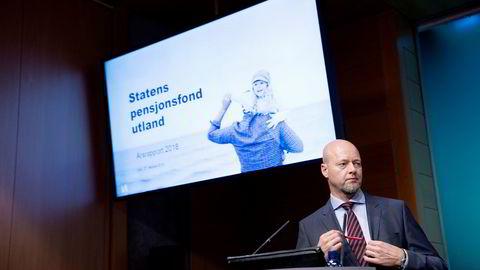 Yngve Slyngstad, sjefen for Oljefondet, la frem resultatet for 2018 onsdag denne uken.