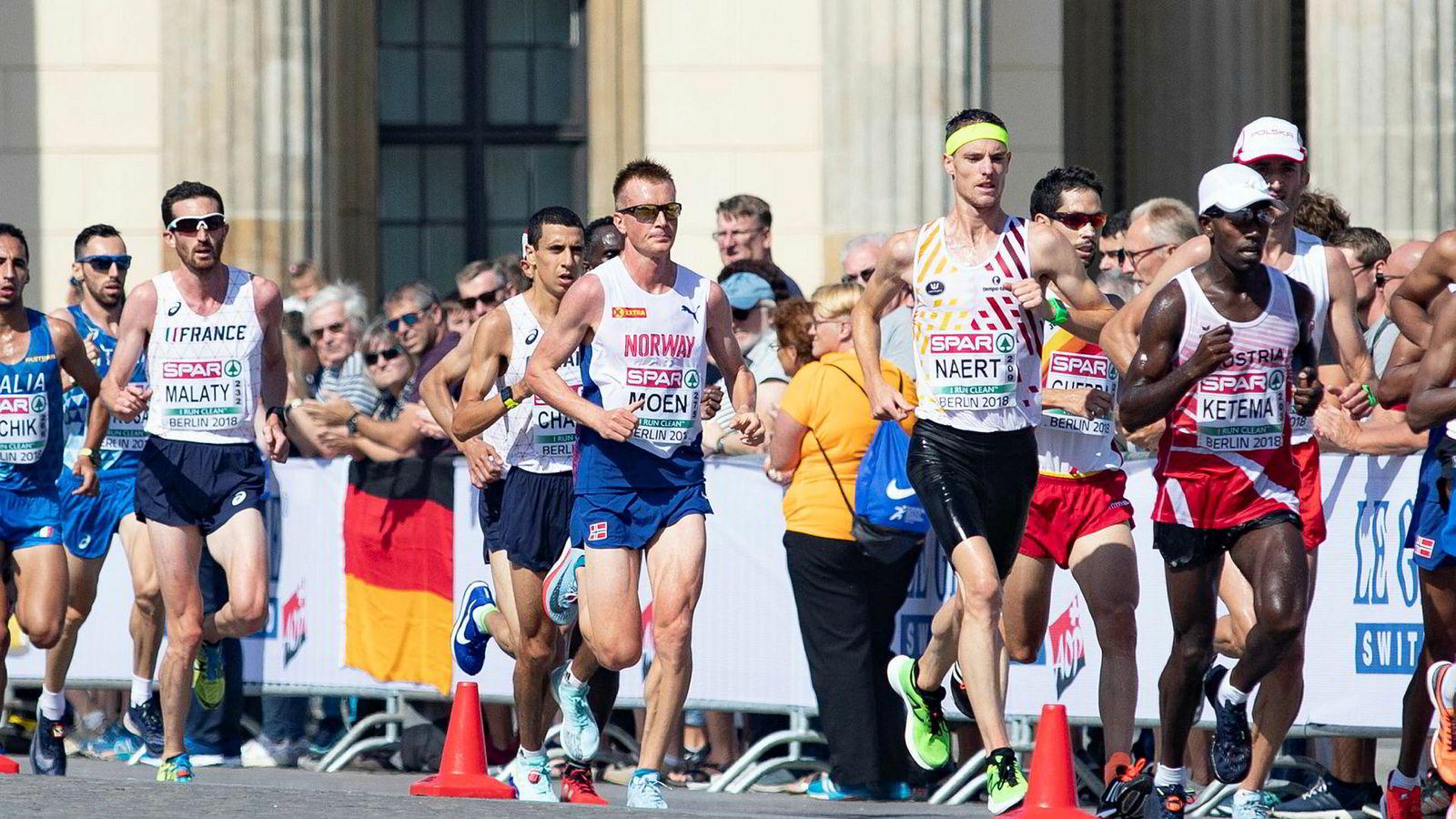 Sondre Nordstad Moen hadde en stund Europas raskeste tid på maraton. Her er han i aksjon under fjorårets friidretts-EM i Berlin.