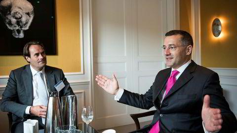 Andrew Bosomworth (til høyre) er Pimcos ekspert på eurosonen, og han tror sentralbanksjefen der kan komme til å miste kontrollen.