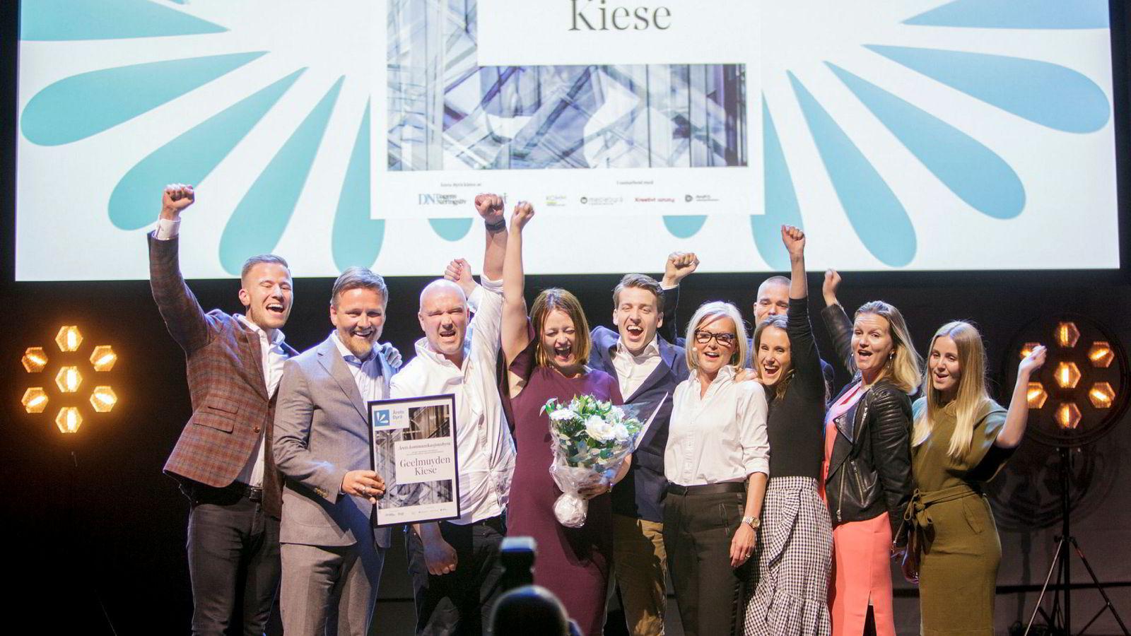 Geelmuyden Kiese vant prisen for årets kommunikasjonsbyrå under Årets Byrå-utdelingen i Oslo Konserthus torsdag kveld.