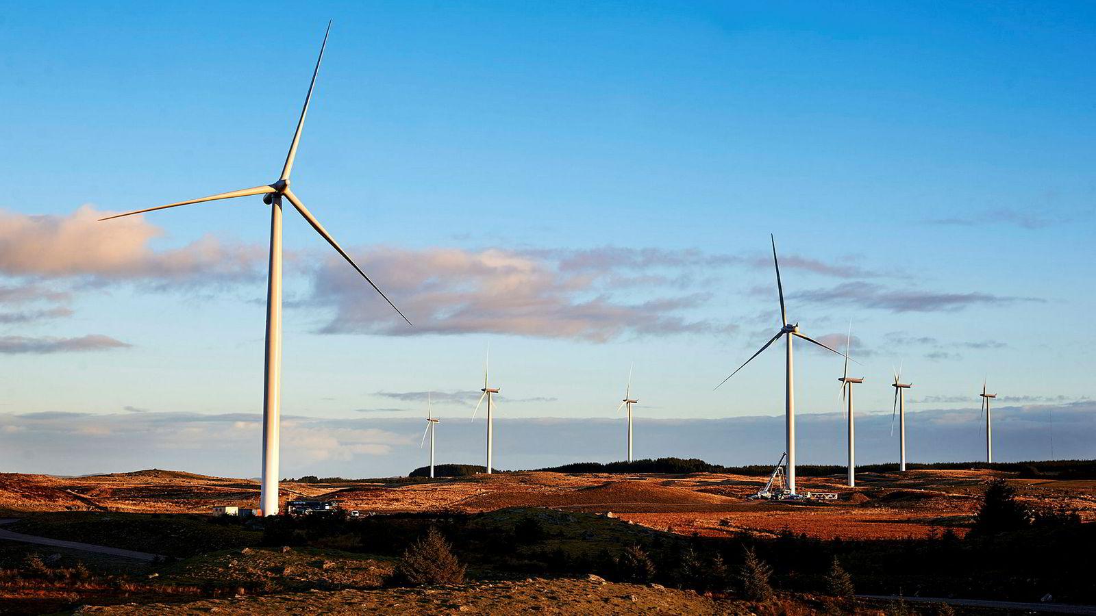 Den planlagte vindparken i Nordhordland kan bli Europas største vindkraftverk på land. Her fra vindmølleparken på Jæren i Rogaland.