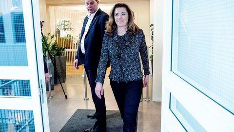 NHO-leder Kristin Skogen Lund og LO-leder Hans-Christian Gabrielsen etter meglingen mellom NHO, LO og YS.