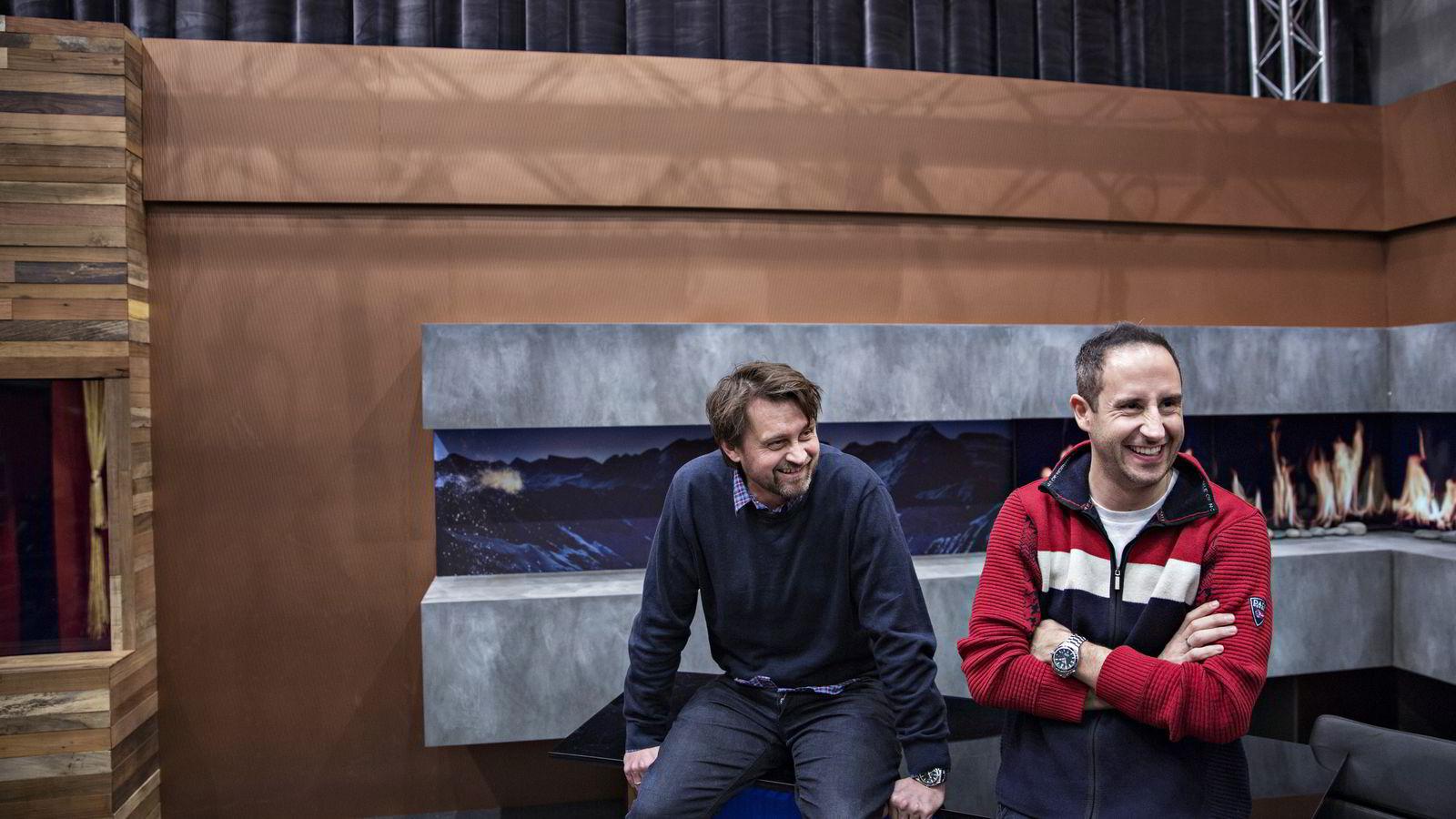 Styreleder Harald Rønneberg og styremedlem Thomas Numme kan glede seg over millionoverskudd i både tv-produksjonsselskapet Plan-B TV og impresarioselskapet plan B. Foto: Aleksander Nordahl