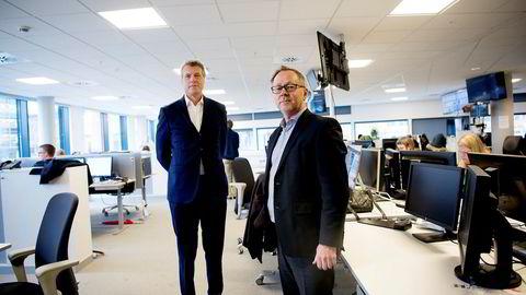 John Arne Markussen (til høyre) i Dagbladet og Dag Sørsdahl i Aller Media har tatt til orde for at de statlige overføringene til NRK fryses i to til fire år.