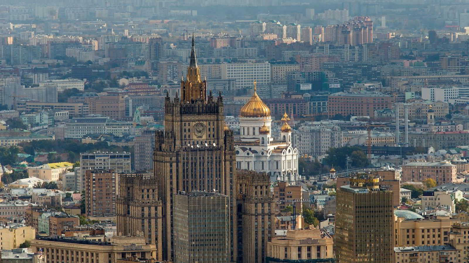 Det norske eiendomsselskapet Storm Real Estate sliter i det russiske utleiemarkedet. På dette bildet ses bygget der det russiske utenriksdepartementet holder til, med den ærverdige Frelseren Kristus-katedralen i bakgrunnen, verdens høyeste russisk-ortodokse katedral.