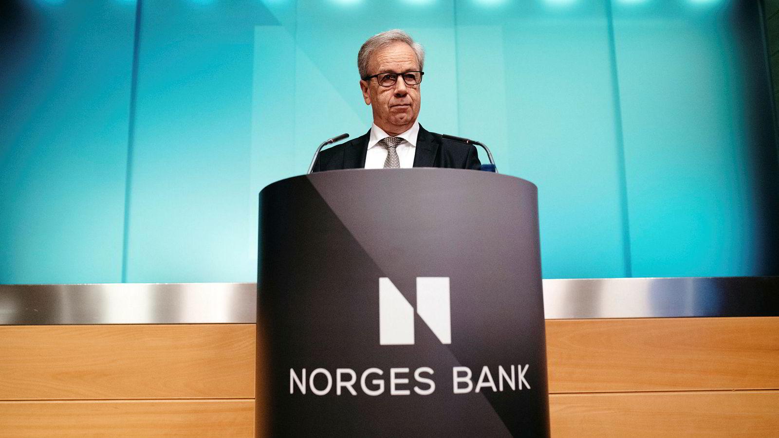 Konjunkturstyring gjennom rentesettingen innebærer kraftig gjeldsoppbygging i husholdningene og overdreven boligprisvekst i dårlige tider. Her sentralbanksjef Øystein Olsen.