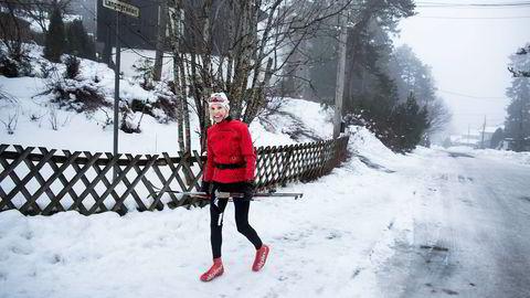 Flere ganger i uken kjører Birgit Korvald morgenøkter før jobben på Wang Toppidrettsgymnas. Helst legger hun i vei fra Langmyra rundt 200 meter unna hjemmet på Korsvoll i Oslo. Foto: Marte Christensen