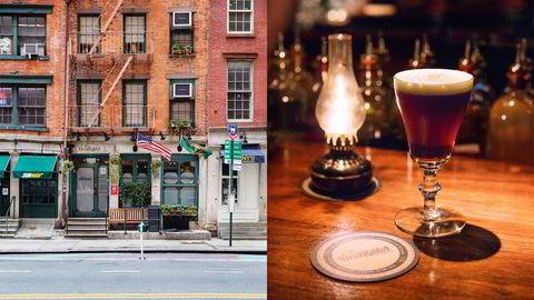 Denne beskjedne fasaden skjuler verdens nest beste bar. Dead Rabbit i New York serverer Irish Coffee og klassiske cocktails uten tilfeldigheter. Foto: Lars Petter Pettersen