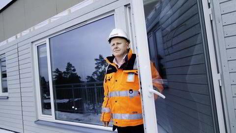 Administrerende direktør Baard Schumann i Selvaag Bolig, her i et tidligere boligprosjekt i Jordstjerneveien i Oslo. Arkivfoto: Per Thrana