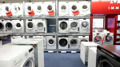 Vaskemaskiner utstilt på Elkjøp.
