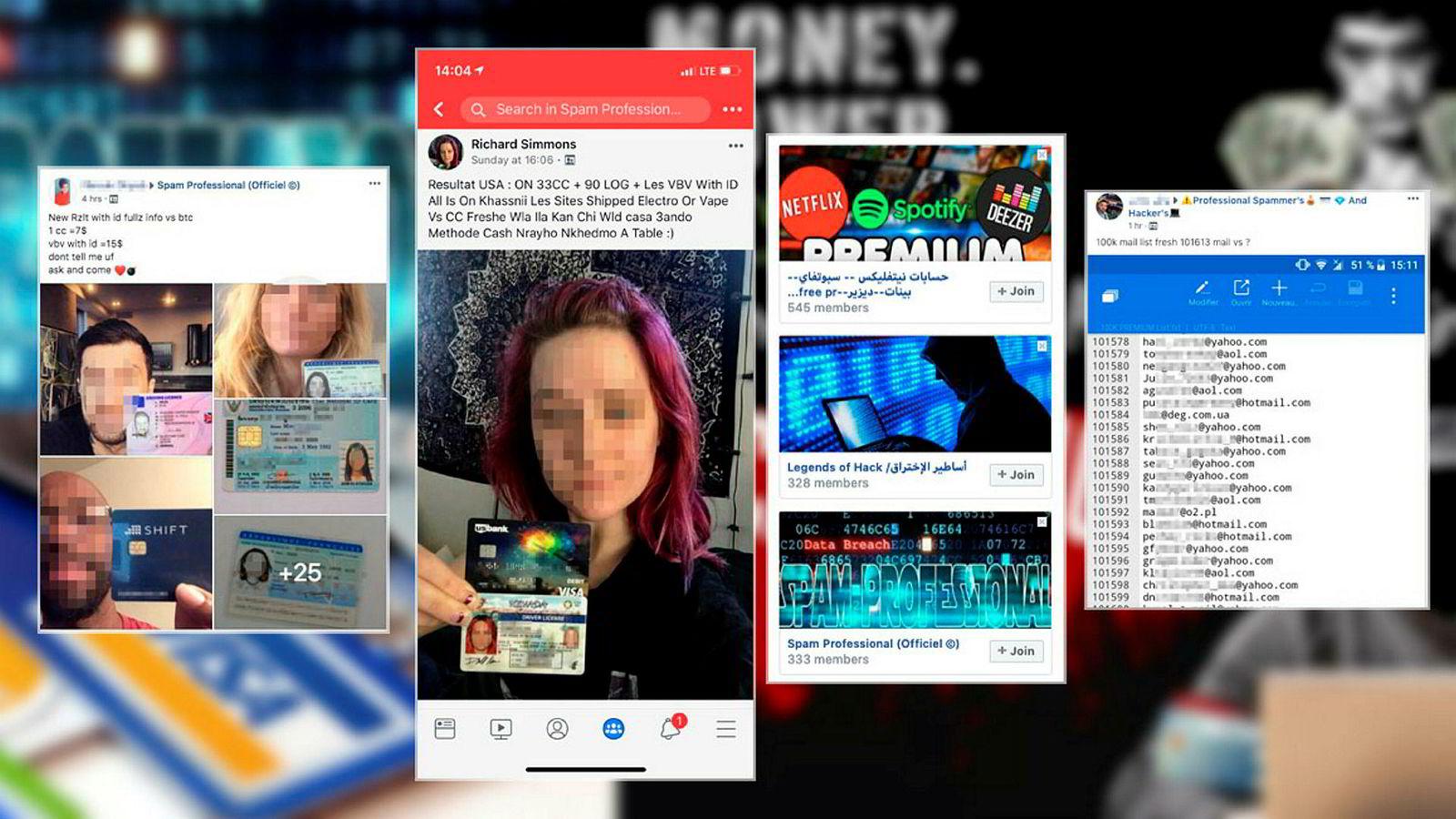 Cyberkriminelle legger åpent ut bevis på sine ferdigheter på Facebook. Falske ID-kort og betalingskort kan skaffes på denne måten.