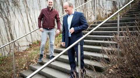 Administrerende direktør Jonas Rinde (til venstre) og styremedlem Torkjell Johan Nilsen i Huddly har nylig hentet 80 millioner kroner til selskapet gjennom emisjon. Foto: Hanna Kristin Hjardar