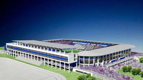 Slik kan det nye stadionanlegget til Vålerenga bli. Klubben ønsker å starte byggingen i august. Illustrasjon: Pål T. Rørby,                    Stor-Oslo Prosjekt