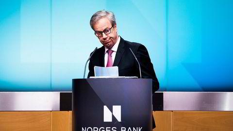 I år er det 16 år siden inflasjonsstyring formelt ble innført i Norge, og det har vært nok av utfordringer på veien. Disse forstyrrelsene tatt i betraktning har måloppnåelsen i pengepolitikken vært god. Her, sentralbanksjef Øystein Olsen.