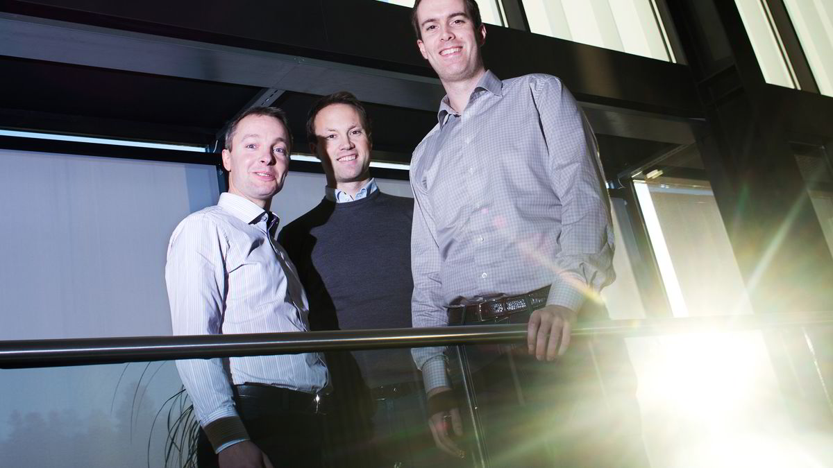 Fra venstre forvalterne Andreas Berdal Lorentzen, Øyvind Fjell og Bård Bringedal i Storebrand og Delphi leverte best avkastning på sine brede aksjefond i år.