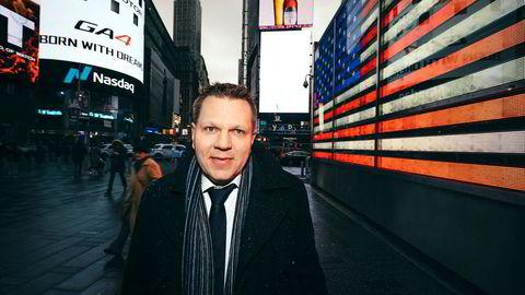 Sjefstrateg Leif-Rune Huseby Rein i Nordea Wealth Management, her utenfor Nasdaq-børsen på Times Square, New York.