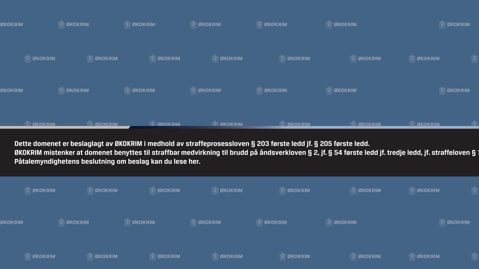 Økokrim har beslaglagt domenet popcorn-time.no. Slik ser nettsidene ut nå.
