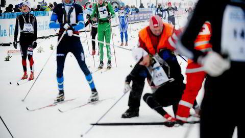 Mange er sluttkjørte når de går over målet i Birkebeinerrennet. Her fra rennet i 2013