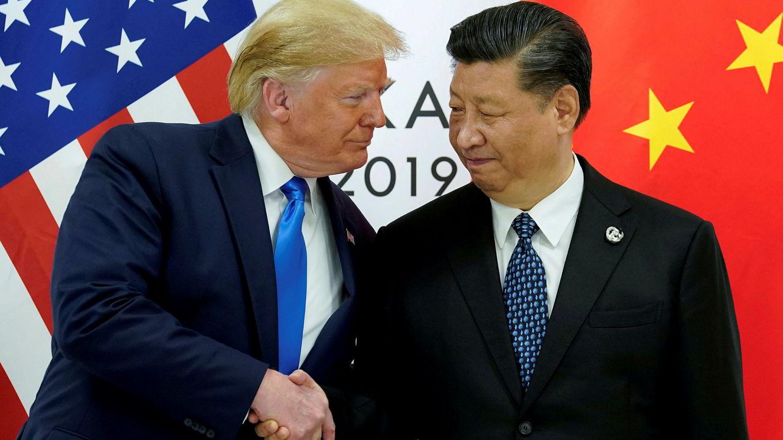 President Donald Trump vil møte Kinas president Xi Jinping om Hongkong. Bildet er fra et møte mellom de to presidentene i Osaka i Japan i slutten av juni.