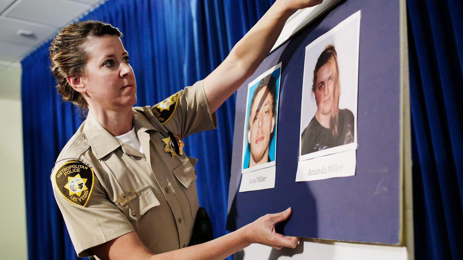 SKJØT OG DREPTE. Bildene av Jerad og Amanda Miller vises frem under en pressekonferanse etter skyteepisoden der to politibetjenter ble skutt på kloss hold i en pizzarestaurant i Las Vegas.