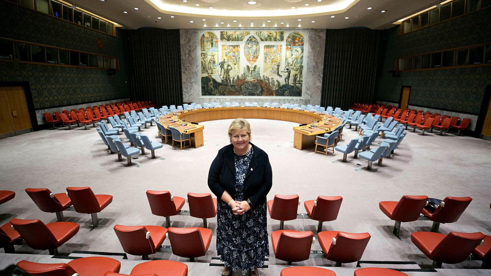 Statsminister Erna Solberg i sikkerhetsrådssalen i FN.