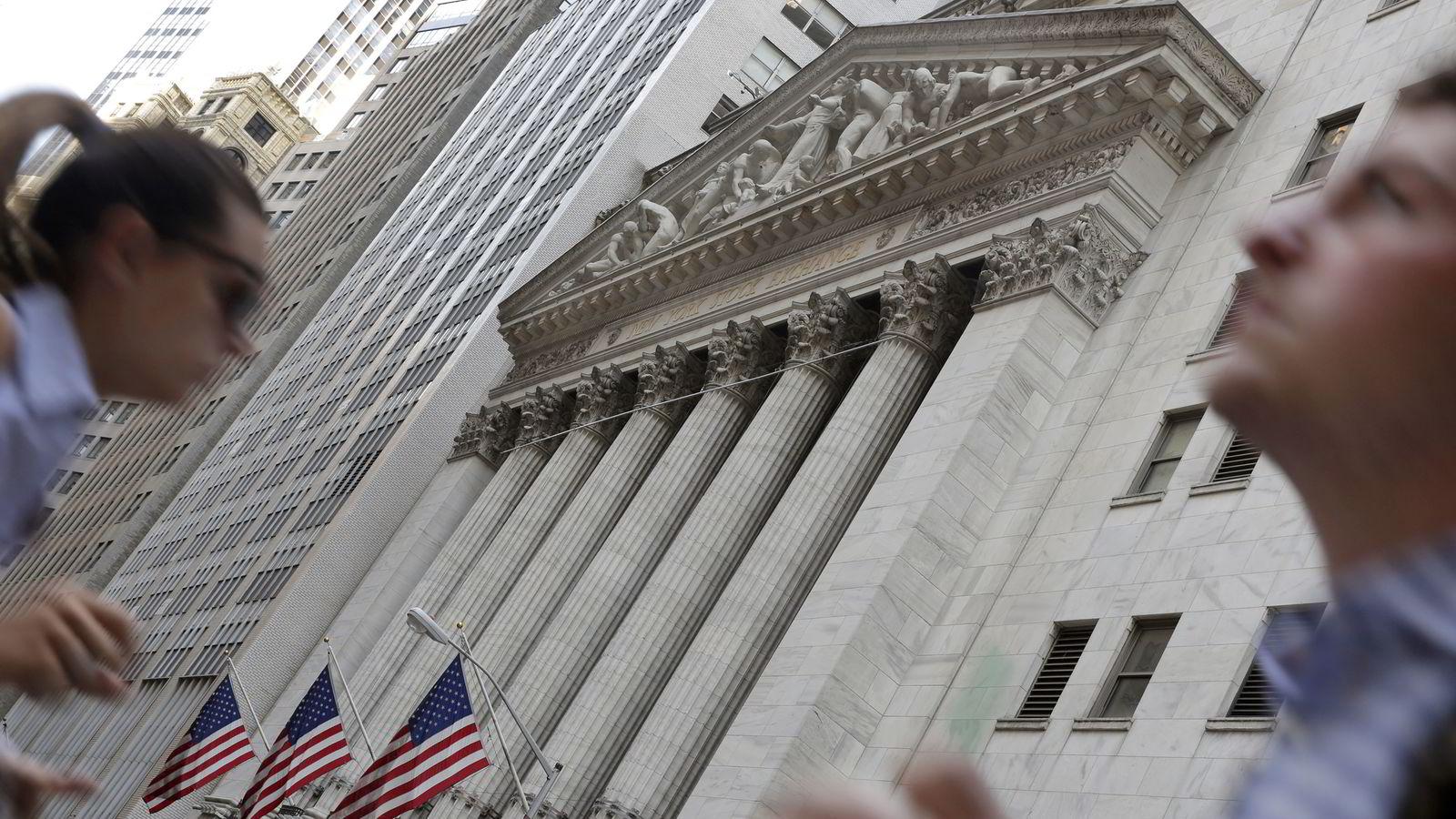 New York Stock Exchange på Wall Street.  Foto: AP Photo/Richard Drew