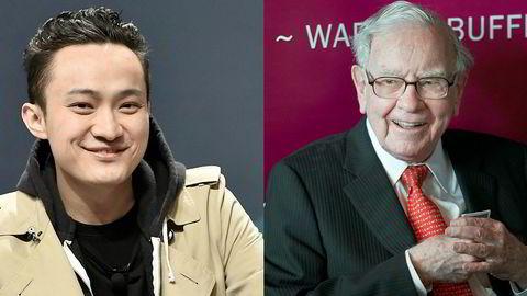 Kryptovalutainvestor Justin Sun (til venstre) betaler 40 millioner kroner for lunsj med Warren Buffett. – Det er vanlig i investeringsmiljøer at folk endrer mening, sier Sun, som står bak en av de største kryptovalutaene.