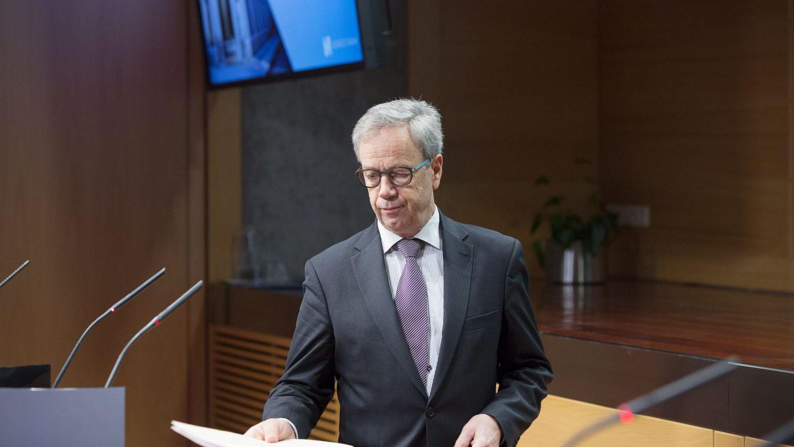 VIKTIG MØTE. Sentralbanksjef Øystein Olsen presenterer rentebeslutning og pengepolitisk rapport torsdag. Foto: