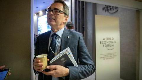 Hydro-sjef Svein Richard Brandtzæg legger torsdag frem selskapets resultater for fjerde kvartal. Her er han avbildet i forbindelse med World Economic Forum i Davos forleden.