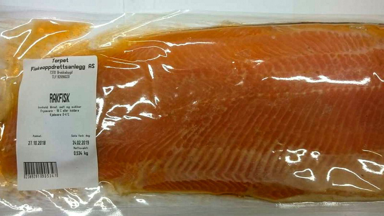 Torpet Fiskeoppdrettsanlegg AS, Røros, trekker tilbake rakfisk produsert i 2018. Det er mistanke om at inntak av fisken kan medføre botulisme.