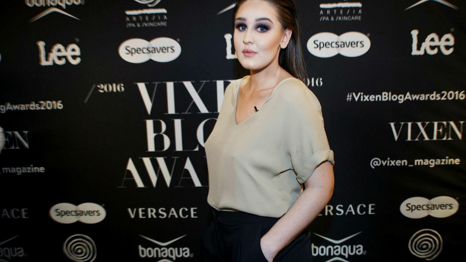 Blogger Anna Rasmussen avbildet på Vixen Blog Awards i 2016.