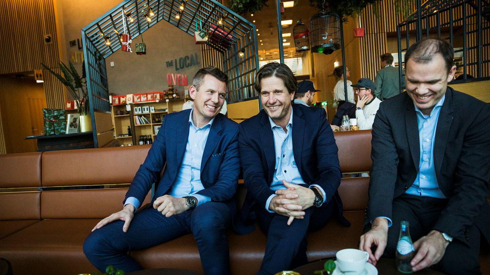 De vil tilby et kontor med en hotellfølelse. Fra venstre, Olav Langli, sjef for Haut Nordic Facility Services, Sondre Prestegård sjef for Haut Nordic og Torstein Storækre, sjef i FP Eiendom.