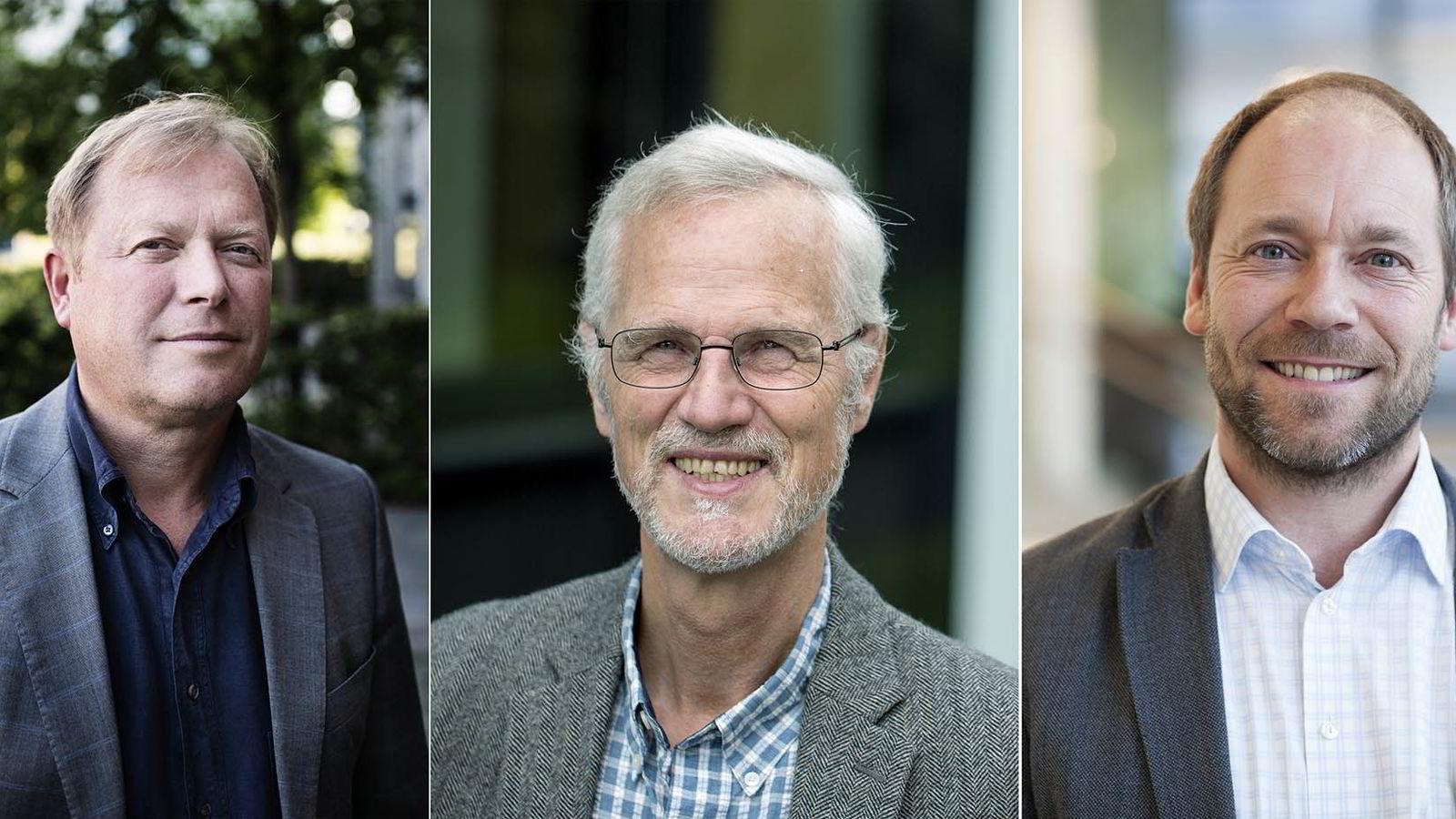 Fra venstre: BI-rektor Inge Jan Henjesand, NHH-rektor Frøystein Gjesdal. og dekan Espen Gressetvold ved Handelshøyskolen i Trondheim (NTNU).