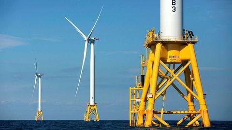 Her ses tre vindturbiner fra Deepwater Wind-prosjektet til Ørsted. Den danske vindprodusenten vil nå inngå partnerskap med britiske BP om hydrogen.