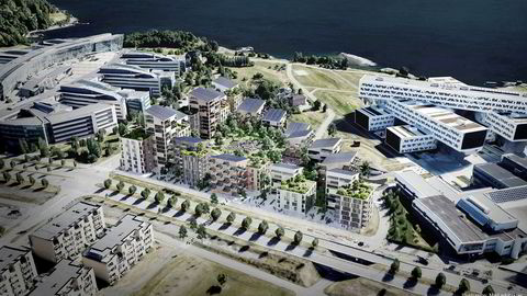 Oversiktsperspektiv over tomten på Fornebu der Aker Solutions-bygget kan bli konvertert til boliger. Foto: Mad arkitekter ---