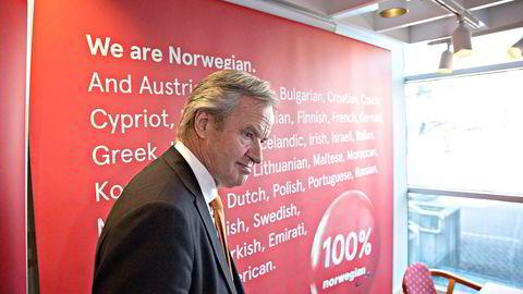 Her Norwegian-sjef Bjørn Kjos ved en tidligere pressekonferanse.  Foto: Aleksander Nordahl