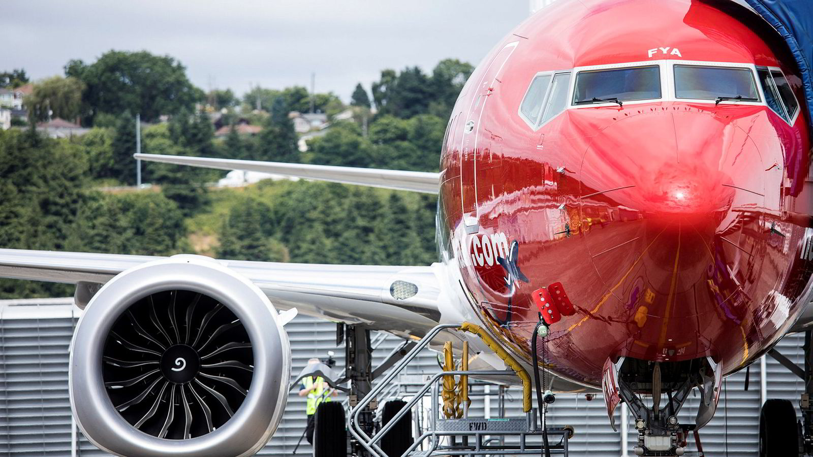 Norwegians første 737 Max 8 på Boeing Delivery Center i Seattle.