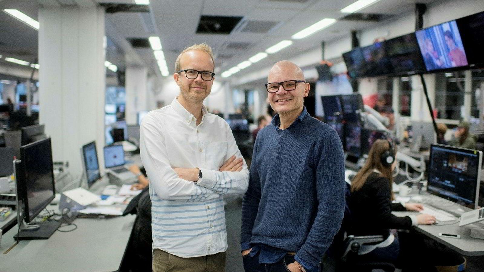 Rolf Sønstelie (til høyre) er ny redaktør og Thomas Manus Hønningstad ny administrerende direktør i VGTV.