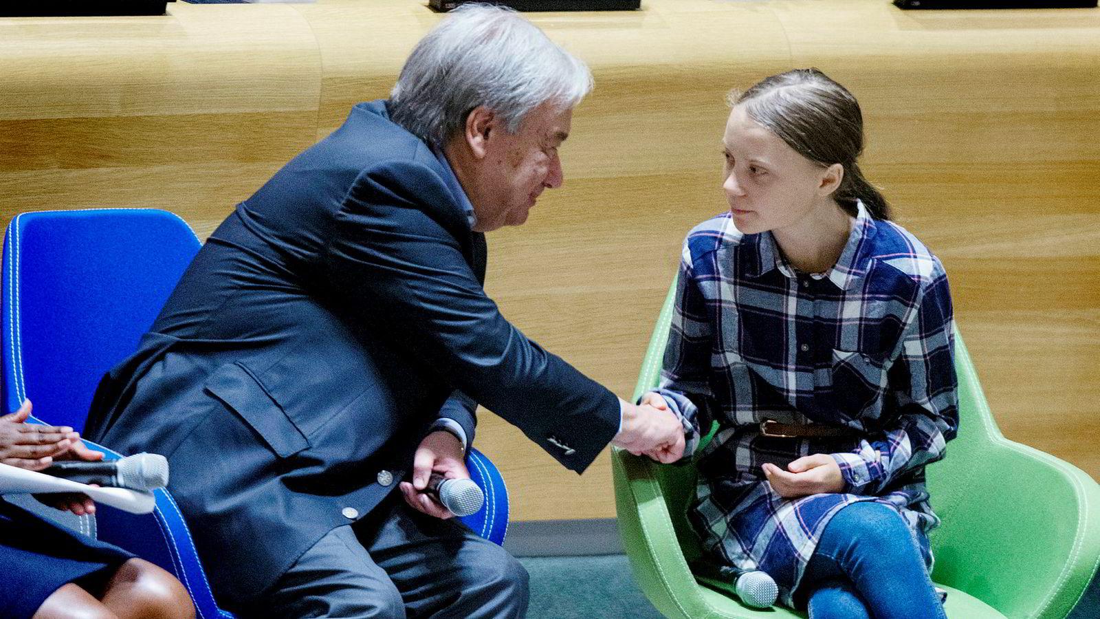 FNs generalsekretær António Guterres har alliert seg med den svenske klimaaktivisten Greta Thunberg. Lørdag deltok de sammen på Youth Climate Summit i FN-hovedkvarteret. Mandag taler hun på FNs klimatoppmøtet.
