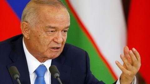 Usbekistans president Islam Karimov, her fotografert på en pressekonferanse i Moskva i april. Foto: Maxim Shemetov / Reuters / NTB scanpix