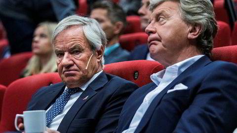 Avtroppende styreleder Bjørn H. Kise (til høyre) er sikker på at Norwegian hadde klart seg uten et milliardbeløp fra eierne om ikke flyprodusentene hadde klusset det til. I sommer må toppsjef Bjørn Kjos ut med nye 300 til 500 millioner kroner for å leie reservefly – og sier ikke hvem som betaler for det.