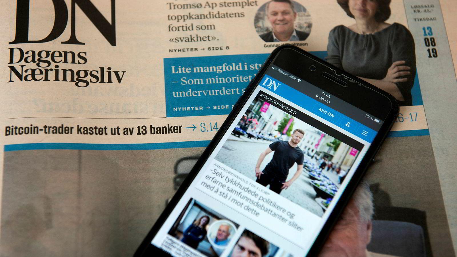 DN på mobil. Annonsørinnhold Reklame