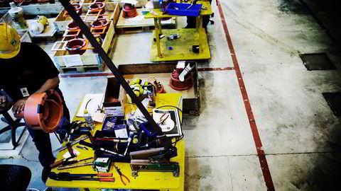 Her fra FMC Technologies' produksjonshall på Kongsberg. Foto: Linda Næsfeldt