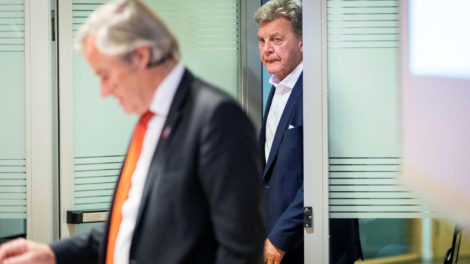 Konsernsjef Bjørn Kjos (t.v.) og styreleder Bjørn H. Kise i flyselskapet Norwegian.
