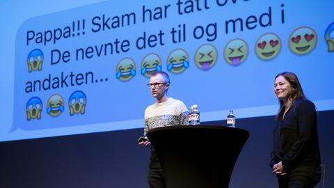Til og med på Kristelig Gymnas i Oslo ble Skam en del av samtalen, fortalte redaksjonssjef Håkon Moslet i NRK P3 og prosjektleder Marianne Furevold Boland. Foto: Elin Høyland