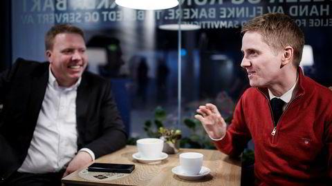 – Jeg har vært i rikspolitikken i åtte år og jobbet for Siv Jensens lag siden 2010, sier Reynir Jóhannsson til høyre, som blir kommunikasjonsdirektør i Ice. Til venstre, administrerende direktør Eivind Helgaker i Ice.net