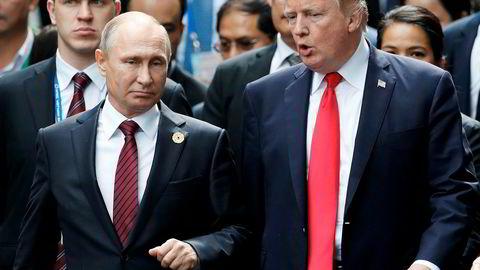 Den russiske presidenten Vladimir Putin og USAs president Donald Trump har fått en god tone. Bildet er fra november 2017.